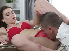 Brunette in red underwear licked and fucked