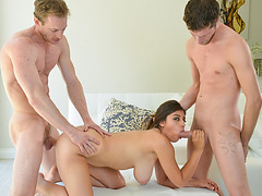 Stepdad and stepbro alternately banged Ella Knox hard and deep