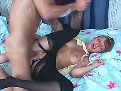 Tight pussy banged with fat cock