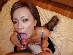 Sakiko throats big cock in perfect Asian POV