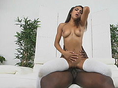 Slutty young ebony chick Nicole Bexley gets her pussy drilled by large penis
