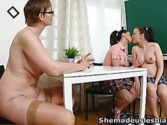 Simona and her sexy classmate are waiting in the classroom for their teacher.