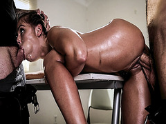 Adriana Chechik mouth fed by a big meat while getting fuck