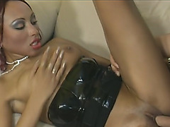 Excellent ebony chick got her pussy used for a firm upskirt penetration