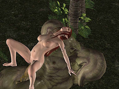 Super hot redhead elf fucked by green troll