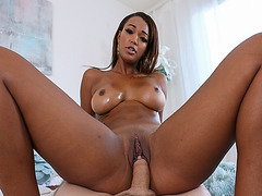 Pinkish purple pussy bouncing on top of a big cock