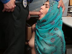 Arab shoplifter babe Audrey fucks a cops cock