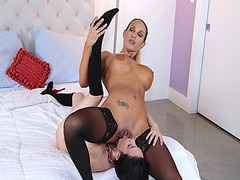 Tegan James feed Kiley Jay her milf pussy