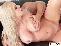 Busty mom Nina Elle seducing her horny stepson