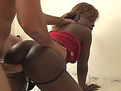 Black hottie pleased with long dick