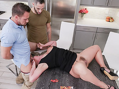Phoenix snuck up and unzipped pants to blew stepsons cock