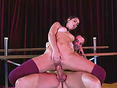 Flexible brunette babe Alina Lopez fucked by lucky man