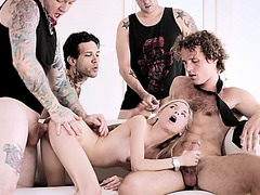 Amy got four cocks to fuck and suck alternately