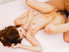 Karen Misaki kneels to suck cock and have sex