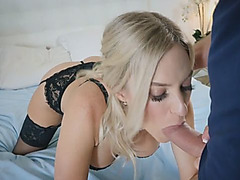 Blonde slut in sexy lingerie sucking dong just for fun
