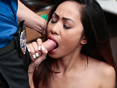 Aurora Winters got on her knees to suck the officer's meat