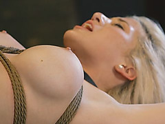 Amazing blonde doll gets tied in bondages and has her hot pussy wrecked