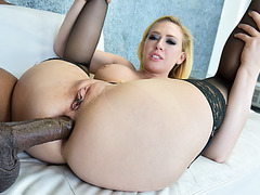 Big tit squirts while ass fucked by a BBC