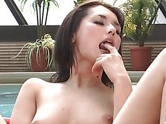 Maria Ozawa in a private pool playing with her sweet pink snatch