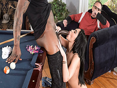 Selena Santana sucking a gargantuan cock deep throat