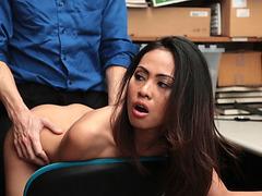 Horny LP officer bangs Asian thief Aurora Winters