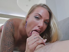 Tattooed MILF loves the taste of that mushroom tipped perky