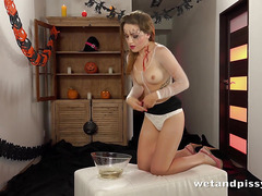 Piss perkying - Barbe tastes her own warm piss during solo toy play
