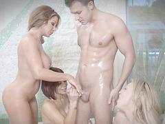 Farrah and her Milf friends sucked and banged her stepsun Cody