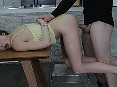 Boyfriend grab Ashley's hair, pull her pants down and fucked her hardcore