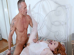 Step dad screwing Lucy Foxx pussy balls deep