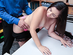 Luna Leve uses a dildo while officer watches her