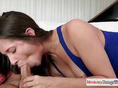 Redhead stepmom sucks cock and licks pussy
