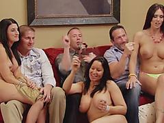 Happy fella likes the cascade of huge tits