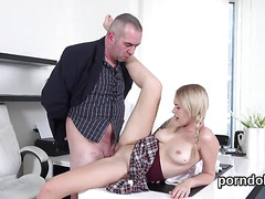 Sensual college girl was tempted and nailed by her aged lecturer