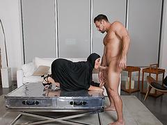 Johnny receives a deep throat blowjob courtesy of Ella Knox