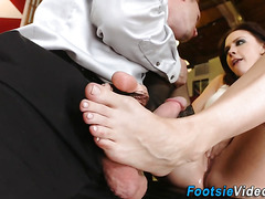 Footfucking office babe