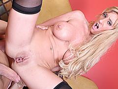 Busty blonde MILF gets a huge dick up her ass