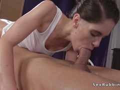 Brunette masseuse with nice butt banging