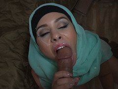 Arab woman sucks American soldiers monstrous cock
