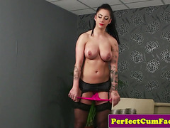 Cocksucking beauty gets mouth full of jizz