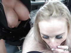 Huge tits blondes in threesome fake taxi
