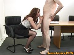 Office babe dominates naked submissive
