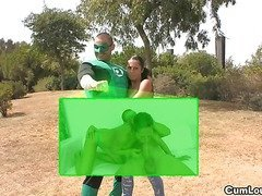 Brunette Latina whore is Fucked strongly in a Green Lantern XXX Parody