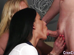 Brit babes give blowjobs