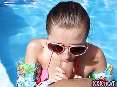 Tiny teen fucks by pool