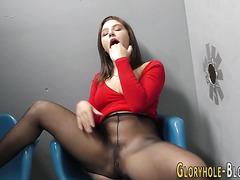 Gloryhole slut guzzles
