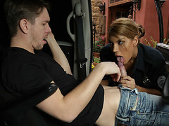 Carrera bent over and fucked with a nightstick