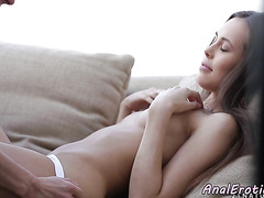 Doggystyled cutie gets anally drilled