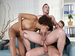 Andy West anal fucks Paul Fresh on top while Luna Corazon suck his cock