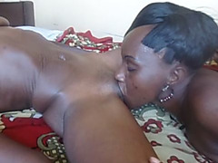 Horny African Lesbians Pearl And Sara Munching On Each Other's Cunts